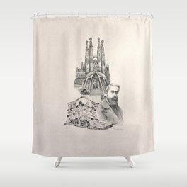 Tribute to Gaudi Shower Curtain