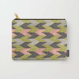 Kilim Weaving Structure Green & Blush Carry-All Pouch