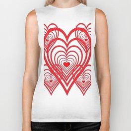 0PTICAL ART RED VALENTINES HEARTS IN HEARTS DESIGN Biker Tank
