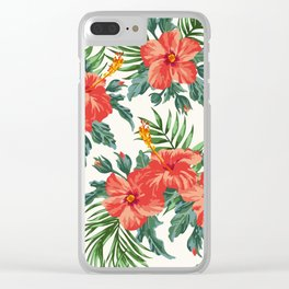 Tropical Leaf Flowers Clear iPhone Case