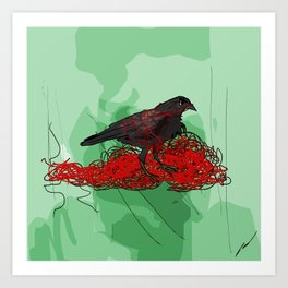Tangled Crow Art Print