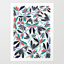 Colored poster small insects, butterflies, dragonflies, spring invitation Art Print