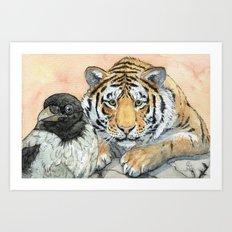 Crow and Tiger c031 Art Print