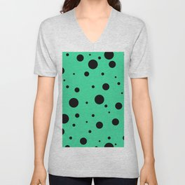 Black Bubbles On Green Unisex V-Neck