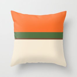 Lines Print Green, Brown and Beige Throw Pillow