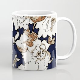 Navy, Rust, White Woodcut Peony Floral Print Coffee Mug