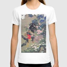 Jakuchu Niwatori Rooster T-shirt