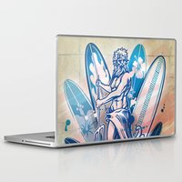 surfboard Laptop & iPad Skins featuring poseidon surfer on surfboard by Doomko