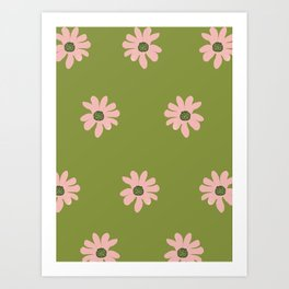 Colorful retro home decor and textile design flower pattern on olive Art Print