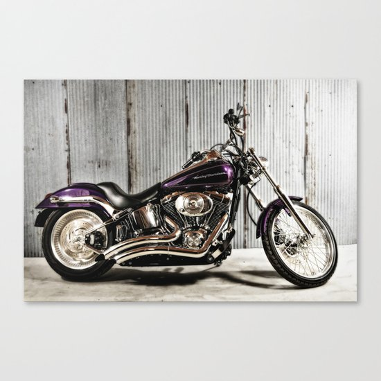 Purple Harley Softail Canvas Print