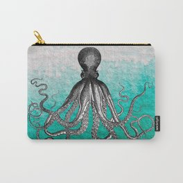 Antique Nautical Steampunk Octopus Vintage Kraken sea monster ombre turquoise blue pastel watercolor Carry-All Pouch
