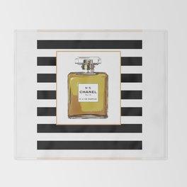 Fashion Art French Decor Fashion IllustrationPrint Perfume,Perfume Print Coco Mademoiselle Fashionis Throw Blanket