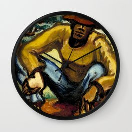 African American Masterpiece 'Resting' portrait painting by Claude Clark Wall Clock