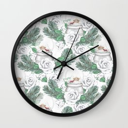 Snow globes and roses Wall Clock