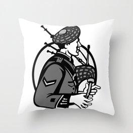 Bagpiper Bagpipes Scotsman Grayscale Retro Throw Pillow