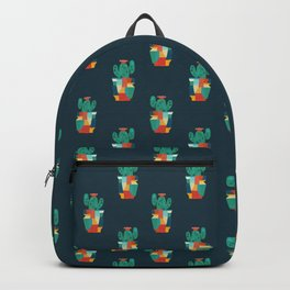 Blooming cactus in cracked pot Backpack