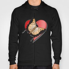 Butterfly over a heart, a symbol of romance. Hoody