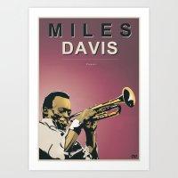 miles davis Art Prints featuring Miles Davis by Danilo Piga