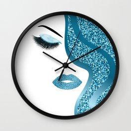 Blue glitte woman Wall Clock