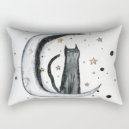 Inky Moon Cat Rectangular Pillow