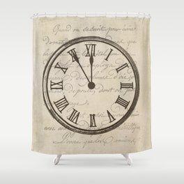 Script Clock 3 Shower Curtain