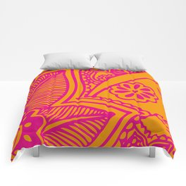 Floral Pattern | Pink and Orange Comforters