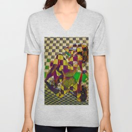 6097-KMA Checkerboard Nude Sitting on Mirror Unisex V-Neck