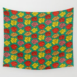 Emerald floral pattern Wall Tapestry