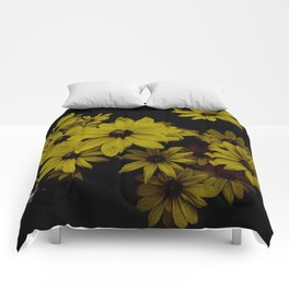 Yellow Daisies Old Antique Look Comforters