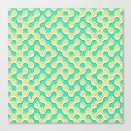 Yellow Deep Sea Green Truchet Tilling Pattern Canvas Print