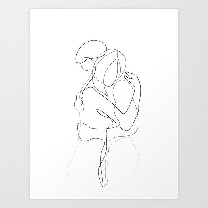 Lovers - Minimal Line Drawing Kunstdrucke