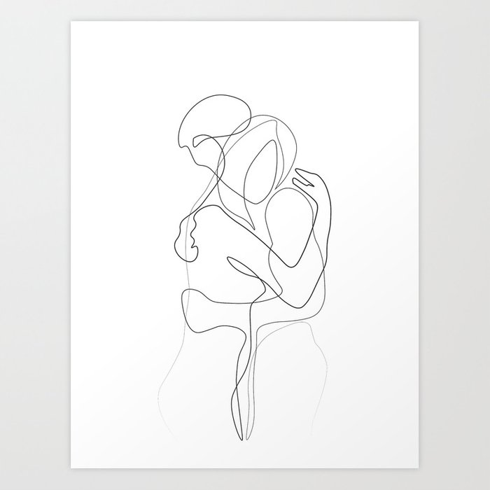 Lovers - Minimal Line Drawing Kunstdrucke