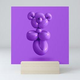 Purple grape party balloon teddy bear Mini Art Print