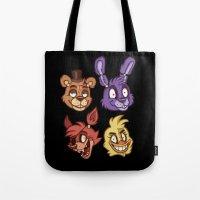fnaf Tote Bags featuring FNAF Five Nights At Freddy's by Kam-Fox