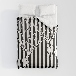 Forest Spirit Deers in Black and White Stripes  Comforters