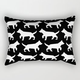Black with white dogs pattern  Rectangular Pillow