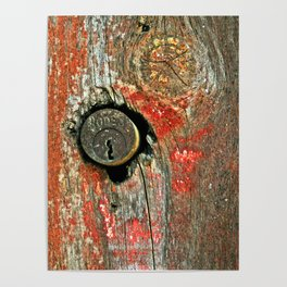 Weathered Wood Texture with Keyhole Poster