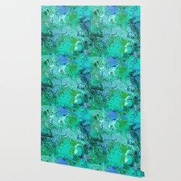 Blue Green Fractured Paint Swirls Wallpaper