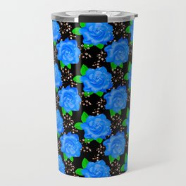 Bright Blue Roses Travel Mug