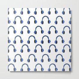 Blue Headphones Metal Print