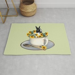 Rabbit with coffee cup and sunflowers Rug