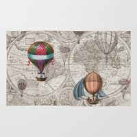 hot air balloons Area & Throw Rugs featuring Hot Air Balloons by Color and Form