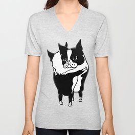 Boston Terrier Hugs Unisex V-Neck