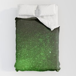 Green and Black Spray Paint Splatter Comforters
