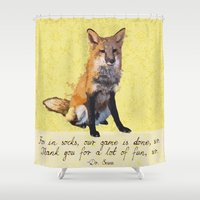socks Shower Curtains featuring Fox in Socks by Canis Picta