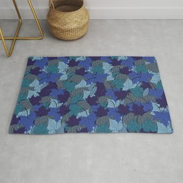 Falling Blue Autumn leaves in october decorative pattern  Rug