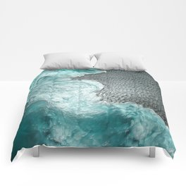 """""""Sea foam dancing on the blue ocean and gray sand"""" Comforters"""