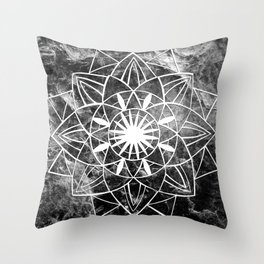 Star Mandala on Enigmatic Black Marble #1 #decor #art #society6 Throw Pillow