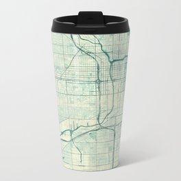 Chicago Map Blue Vintage Metal Travel Mug