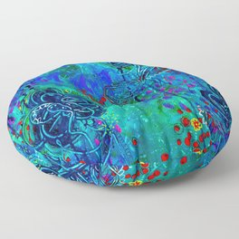 In Too Deep - Blue Abstract Flowers Floor Pillow